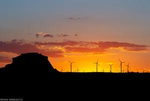 Wind turbines on the horizon at Pawnee National Grassland.
