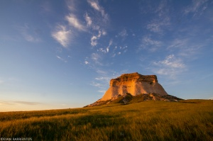 West Pawnee Butte rises above Pawnee National Grassland at sunrise.