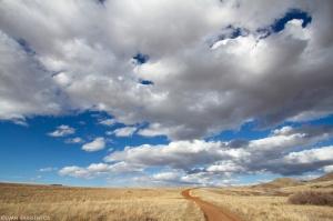 Big prairie sky landscape with clouds.